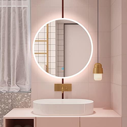 Espejo de baño LED redondo, 60 cm, interruptor táctil, bajo consumo