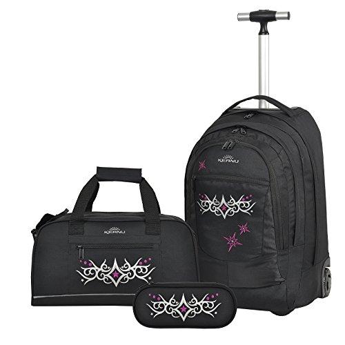 Premium Schulset 3 Teile :: Schultrolley Schulranzen 35 Liter KEANU hochwertiger XL Schulrucksack Rucksack Driver + passende Sporttasche + Etui Box Mäppchen (Black Girls Tattoo)