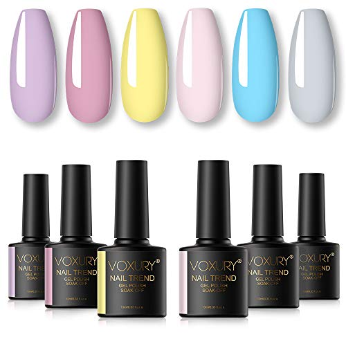 VOXURY UV Nagellack Set, 6PCS Shellac Gellack Pastell Nageldesign Kit Gel Farbgel Gelnägel Design Soak Off Semi Permanentes Soak Off Gel French Maniküre 10ML…