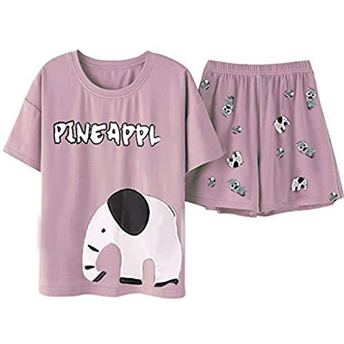 URIBAKY - Conjunto de pijama para mujer con estampado de elefante para bebé rosa L