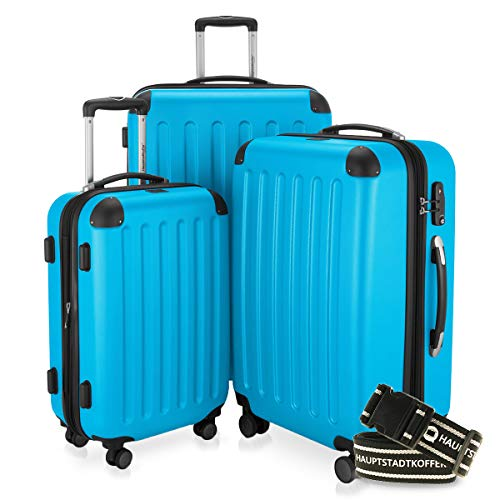 Hauptstadtkoffer - Spree - 3er-Koffer-Set Trolley-Set Rollkoffer Reisekoffer-Set Erweiterbar, TSA, 4 Rollen, (S, M & L), Cyan Blau inkl. Gepäckgurt