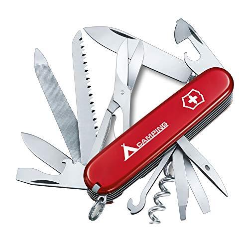 Victorinox Taschenmesser Ranger Camping Aufdruck (21 Funktionen, Schere, Zahnstocher, Metallsäge, Holzmeissel) rot