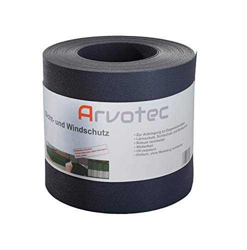 Sichtschutz, 25 Meter - 5 Farben wählbar - zur Anbringung an Doppelstabmatten - Lärm-, Sicht- & Windschutz - einfache Montage, ohne Werkzeug - 1,1 mm Stärke statt der üblichen 1,0 mm (Anthrazit)