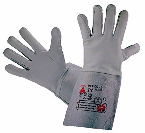Schweißschutz-Handschuhe MEXICO-Z-LONG - Ziegennappaleder TÜV-GS, Grau, 10