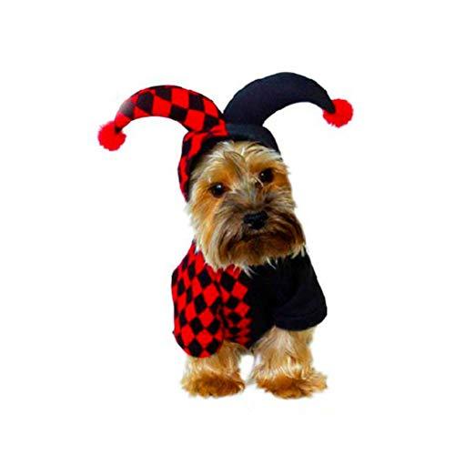 BESTOYARD Divertente Pet con Cappuccio Clown Costume Pet Festival Cosplay Vestito per Piccoli Cani Gatti Chrismtas Carnevale Halloween Party Cosplay, Taglia S (Nero e Rosso)