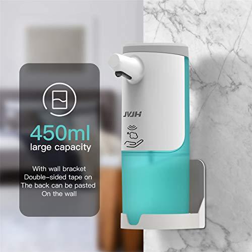 Seifenspender Automatisch 450ml,Wasserdicht automatischer Seifenspender Set Sensor Infrarot, 2 Einstellbare Schaummenge USB-Aufladung Wasserdichtes Geeignet für zu Hause Schule Hotel Restaurant