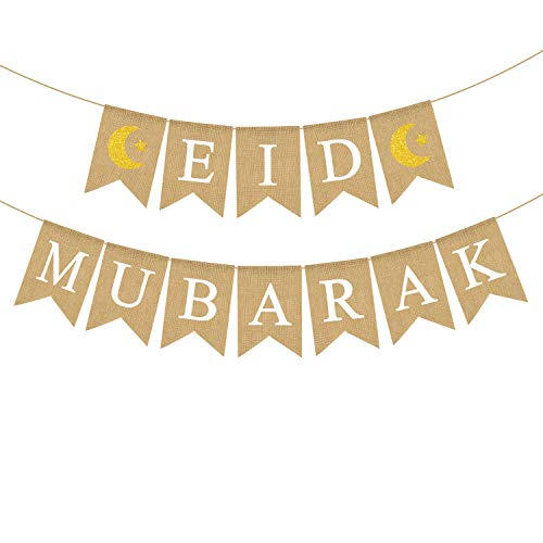 Jute Burlap Eid Mubarak Banner with Moon and Star Ramadan Home Mantel Fireplace Decoration