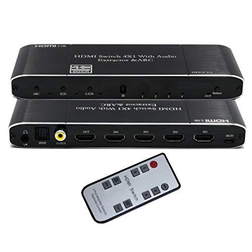 Unocho Conmutador HDMI 4x1 Extractor de Audio hdmi 4K @ 60Hz con SPDIF...