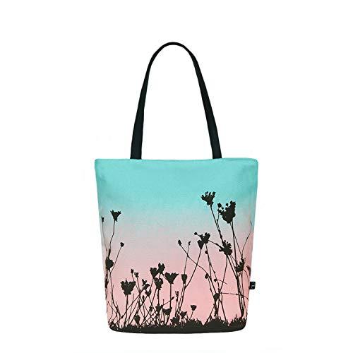 Eco Right Strandtasche mit Reißverschluss, Klassische Canvas Tasche Damen, Shopper...