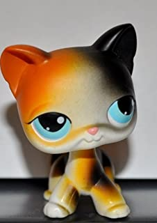 Kitten Shorthair #106 (Cat, 4 Paws, White, Blue Eyes, Orange/Black Patches) 2004 Littlest Pet Shop (Retired) Collector Toy - LPS Collectible Replacement Single Figure Loose (OOP Out of Package)
