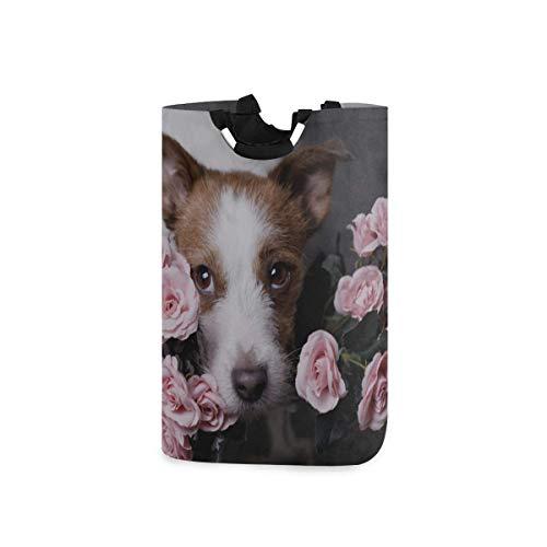 Canasta de lavandería universitaria Rose Love Dog Flower Canasta de lavandería para habitaciones de niñas Canasta de lavandería para mujeres 11 X 12.6 X 22.7 Pulgadas Tela Oxford plegable Ropa sucia O