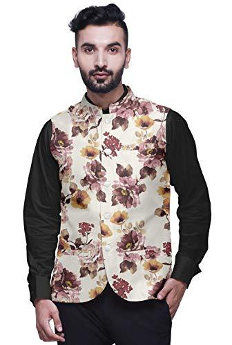 Atasi Blumen- Ehe ethnischen Mantel für Männer gedruckt Nehru Jacke Herren Bandhgala lässige Weste Jacke-XX-Large