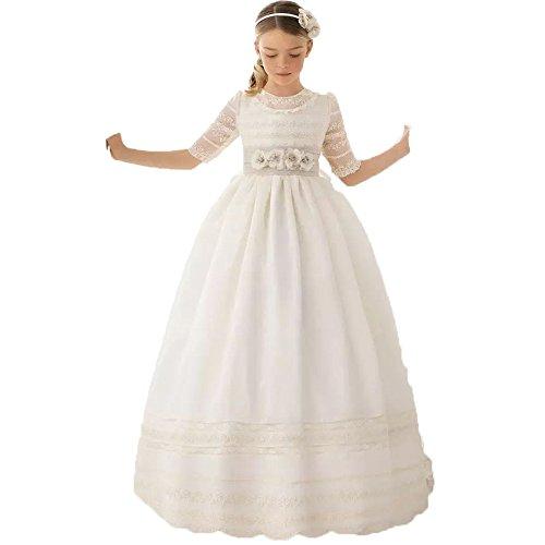 Auxico Linda Vestidos de niña de Las Flores para Bodas Vestido del Desfile Vestidos de comunión (Marfil 1, 10 años)