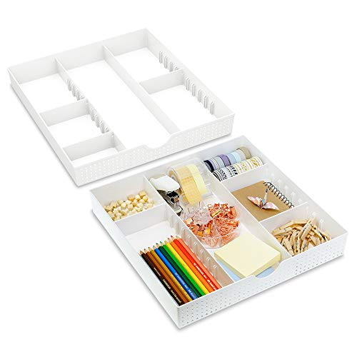"""2 PK - CAXXA 3 Slot Drawer Organizer with 3 Adjustable Dividers - 6 Compartments Junk Drawer Storage for Makeup & Vanity, Office Desk Supplies and Accessories (12""""x12""""x2"""") (WHITE)"""