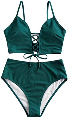 JFAN Costumi da Bagno Due Pezzi Halter Fiore Vita Alta Bikini Sexy A Nodo Frontale con Controllo della Pancia