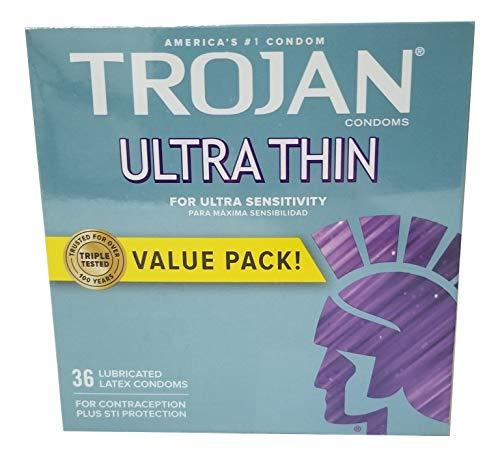 TROJAN Sensitivity Ultra Thin Lubricated Premium Latex Condoms 36 EA - Buy Packs and SAVE (Pack of 2)