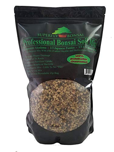 Bonsai Soil Mix - Premium Professional, All Purpose, Sifted and Ready To Use Tree Potting Blend In Easy Zip Bag - Akadama, Black Lava, Pumice & Charcoal (2.5 Quart)
