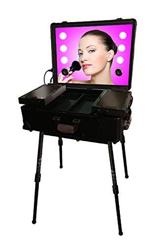 Aegilmc Neceseres, Neceseres Iluminación del Espejo De Maquillaje Caso Neceser Maletas Trolley Maquilladores Maquillaje LED Alutrolley Tocador Tocador De Pantalla Táctil