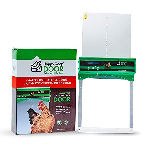 Happy Coop Door - Weatherproof Automatic Chicken Coop Door Open/Close with Timer/Light Sensor, Predator Resistant Self-Locking Gears, Protection Sensor