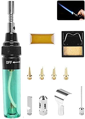 Kit de soldador, 4 en 1 kit de soldador portátil, sin cable, gas butano, pistola de soplado eléctrica, herramientas de soldadura controladas por temperatura, bolígrafo de soldadura (11 piezas)