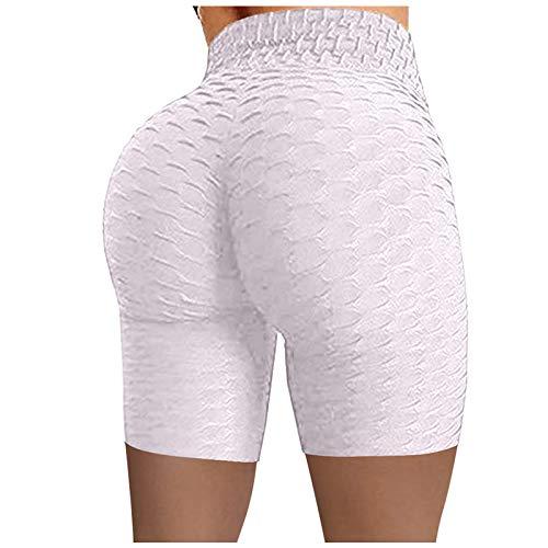 GYZF Mujeres Arrugadas Cintura Cintura Alta Pantalones con Bolsillos para Yoga Alta Estiramiento de la Cadera Correr Fitness Yoga Pantalones Biker Shorts