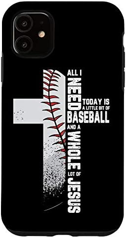 iPhone 11 Baseball Cross Jesus Christian Quote Cool Sports Lover Gifts Case product image