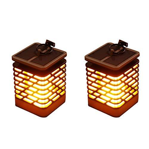 OOFAY LIGHT Lumières Solaires Flammes Vacillantes Pendaison Lanterne Lampe De Nuit pour Accueil Jardin Décoration De Noël(2Pack)