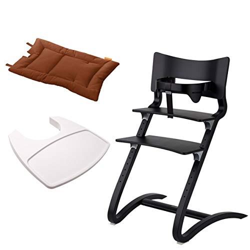 Leander Stuhl schwarz lackiert - Hochstuhl - Kinderstuhl - Erwachsenenstuhl mit Babybügel + Tablett weiß + Kissen ginger