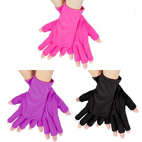 Framendino, 3 Paar Anti-UV-Schutzhandschuhe Gel Maniküre Handschuh Fingerlos für LED/UV-Lampe Lampe Nageltrockner Aushärten