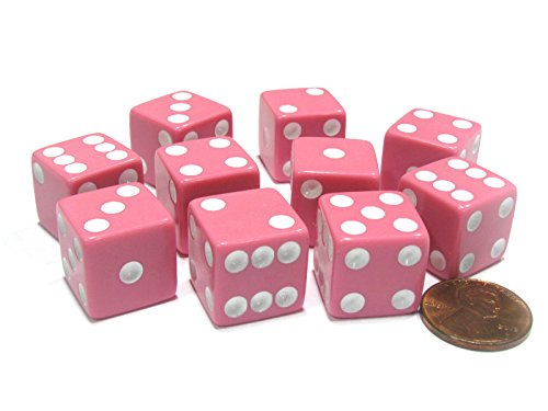 Koplow Games Set of 10 Six Sided Square Opaque 16mm D6 Dice - Pink with White Pip Die