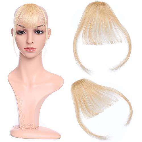 Silk-co Air Pony Haarteil Echthaar Gebleichtes Blond #613 Clip in pony - Extensions Echthaar Haarteil Haarverlängerung mit Tempel Ein Stück 3g