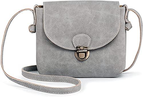 Nicebags bolso de hombro pequeño señoras retro vegano bolso de cuero con cerradura de seguridad mini señoras bolso colgante, Grau, A