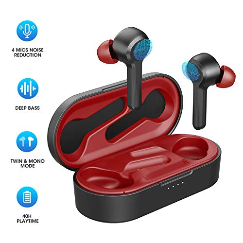 Bluetooth Kopfhörer, Upgrated Mpow M9 4-Mic Noise Cancelling in Ear kopfhörer kabelloses mit Bass Stereo IPX8 Sport Kopfhörer, 40Std, Touch Sensoren /USB-C-Ladebox/Single/Twin Mode, Rot