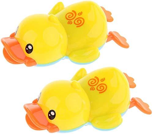Bonito plástico para natación de pato amarillo para bebé, bañera, baño, juego de actividad, juguete de 2 piezas