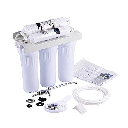 SOULONG Sistema di Filtrazione d' Acqua, 5 Fasi/6 Fasi a Osmosi Inversa Filtraggio dell'Acqua Depuratori Acqua, per Uso Casa Office Bere (6 Fasi, Regola Il Livello di PH)