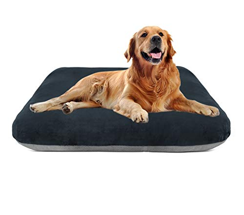Magic Dog Large Dog Bed Mat Crate Pad with Removable Cover Washable Pet Mattress Non Slip Kennel Sleeping Beds Dark Grey L