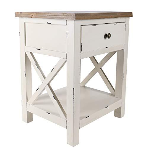 Mesita de noche color crema blanco vintage mesa auxiliar madera mesita de noche mesa rústica mesa retro