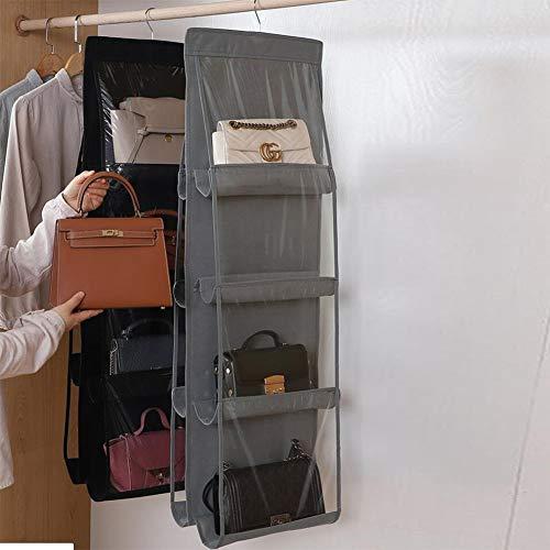 XuBa Taschenaufbewahrung Hängende Tasche Tuch Staubdichter Kleiderschrank für den Haushalt Kleidung und Küchentaschen Regale für Schlafsäle Grau Tasche mit 8 Beuteln