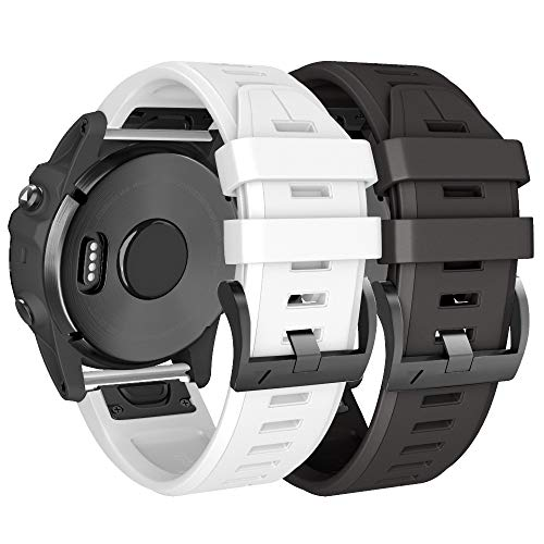 NotoCity Armband für Garmin Fenix 5/Fenix 5 Plus/Fenix 6/Fenix 6 Pro/Forerunner 935/945, 22mm Breite Silikon Quick-Fit Uhrenarmband, Mehrfache Farben (Schwarz + Weiss)