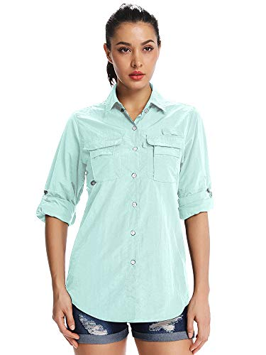 Jessie Kidden 5055 - Camiseta de protección solar para mujer, secado rápido, Manga Larga, Mujer, color 5055 azul brillante., tamaño M