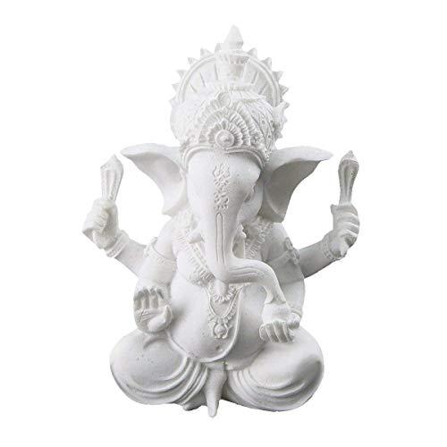 Dawa Statue, weißer Ganesha-Elefantengott, aus Sandstein, handgefertigte Skulptur, Buddha-Figur, Dekoration für Zuhause Dekoration, Handwerk, Geschenke