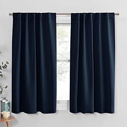 PONY DANCE Blackout Kitchen Curtains - Window Drapes Rod Pocket &...