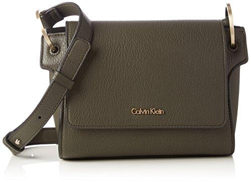Calvin Klein Damen Iren3 Flap Crossbody Umhängetasche, Grün (Black Olive), 15x20x18 cm (B x H x T)
