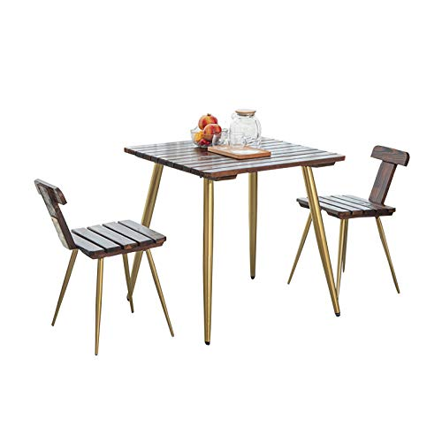 Outdoor balcony table and chair combination outdoor courtyard anticorrosive solid wood table and chair, 3 piece set of garden terrace leisure negotiation table and chair, for garden/lawn/villa/bedro
