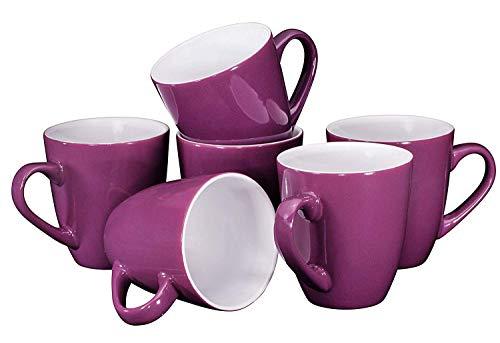 Coffee Mug Set Set of 6 Large-sized 16 Ounce Ceramic Coffee Mugs Restaurant Coffee Mugs, Purple