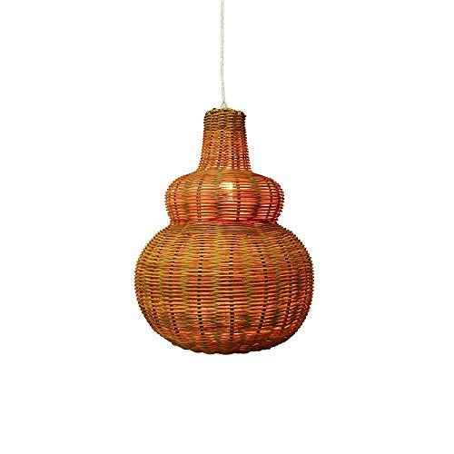 ZGZRXGY Forma de la Calabaza Tejida a Mano Arte de bambú Araña de la araña del sudeste Asiático del Restaurante Decoración Colgante iluminación Simple Estilo japonés Natural de Mimbre