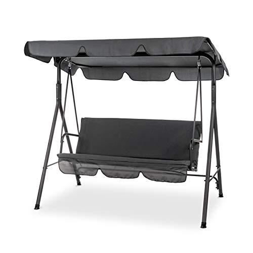 Gartenschaukel mit Sonnendach Hollywoodschaukel für 3-Sitzer für Garten, Terrasse, 160 x 170 x 110 cm in Schwarzgrau bis 220 kg