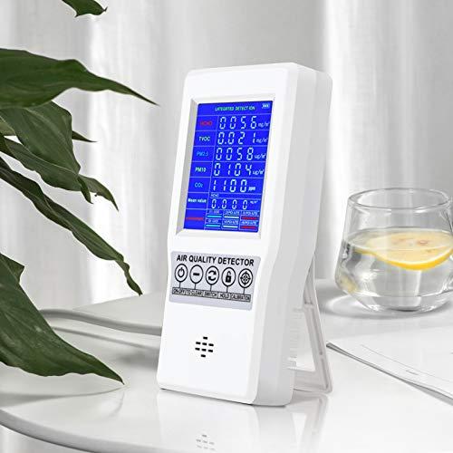 S SMAUTOP Detector de Calidad del Aire, Monitor Digital Portátil de Calidad del Aire Pantalla LCD Detector de Gas Recargable de Alta Precisión Análisis de Gases Múltiples para CO2/HCHO/TVOC/PM2.5/PM10