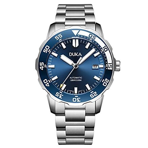 DUKA Homage Aquatimer Orologio da uomo automatico a carica automatica, bracciale in acciaio inossidabile, Giappone NH35A, lunetta girevole in ceramica, orologio da polso impermeabile (Blu)