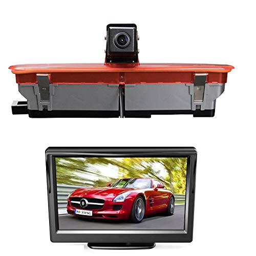 HD 720p Cámara de Visión Trasera 3. Luz freno Cámara marcha atrás + 5 'Monitor para Transporter Opel Combo D Fiat Doblo 263 Doblo EV 2011-2019